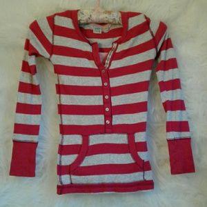 SO Shirt Quarter Button Striped Pocket T-Shirt